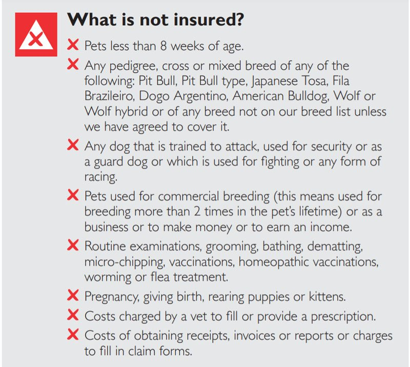 john lewis pet insurance policy exclusions